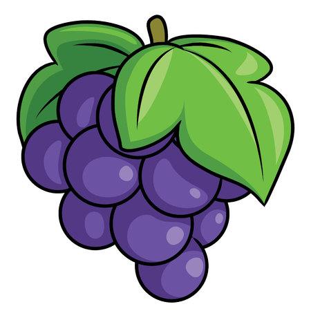 Illustration of cute cartoon grape. Vectores