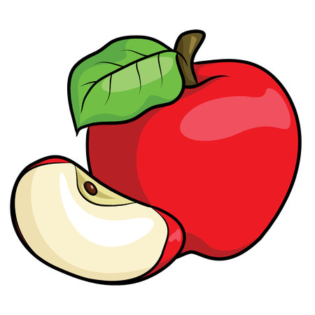 Illustration of cute cartoon apple.