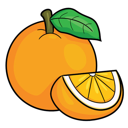 Illustration of cute cartoon orange. Ilustração