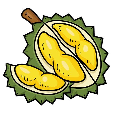 Illustratie van leuk durian beeldverhaal. Stock Illustratie