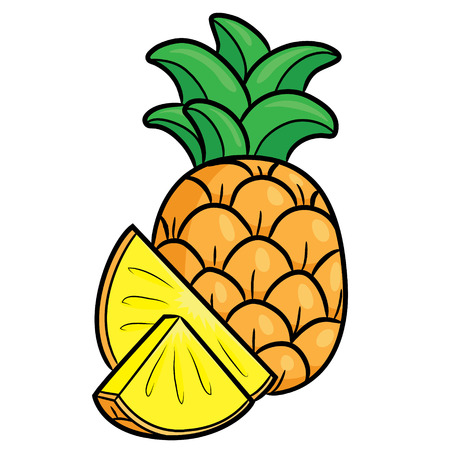 Illustration of cute cartoon pineapple.