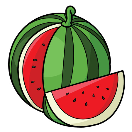 Illustration of cute cartoon watermelon.
