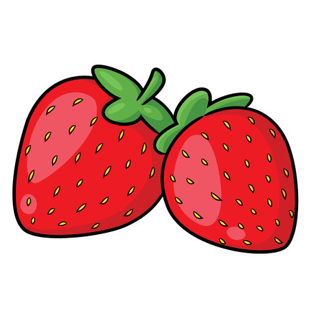 Illustration of cute cartoon strawberry.