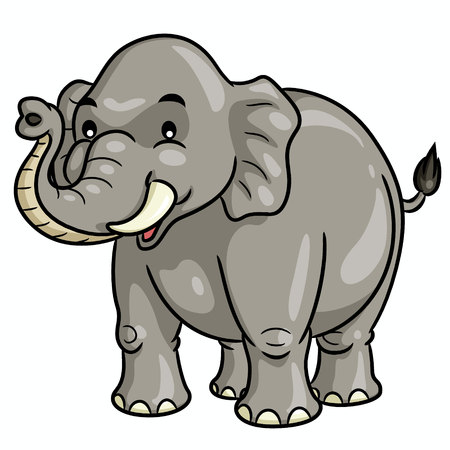 Illustration of cute cartoon elephant.