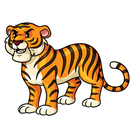 Illustration of cute cartoon tiger. Ilustração