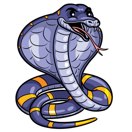Illustration of cute cartoon cobra.