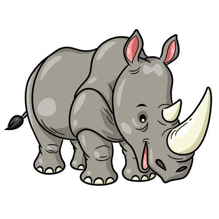 Illustration of cute cartoon rhino.
