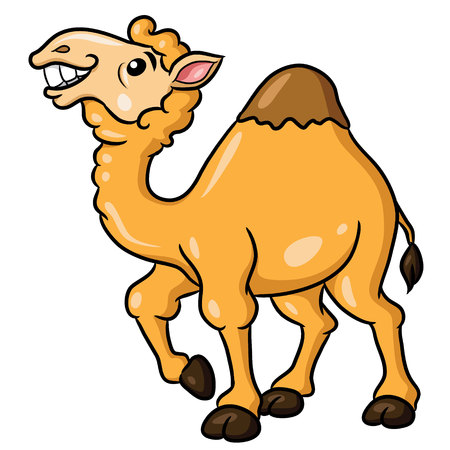 Illustration of cute cartoon camel.