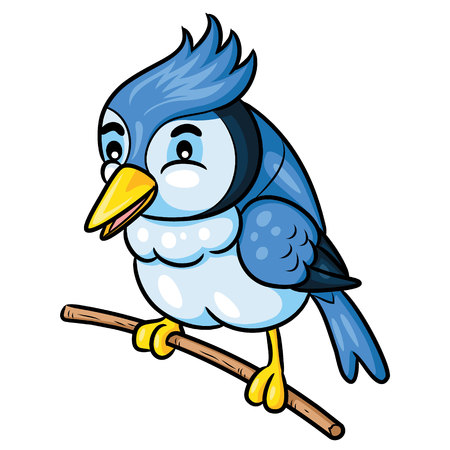Illustration of cute cartoon bird. Ilustração