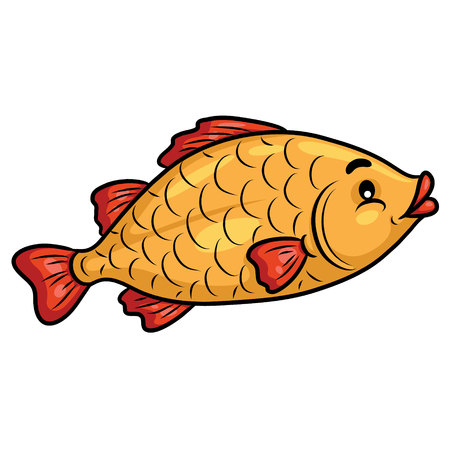 Illustration of cute cartoon fish.