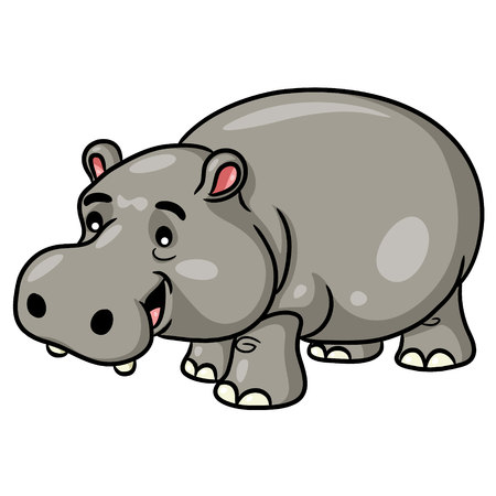 Illustration of cute cartoon hippo.