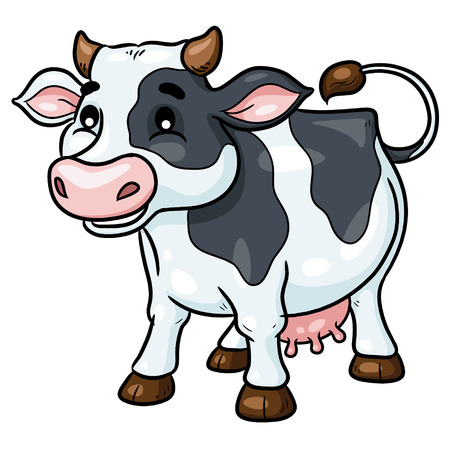 Illustration of cute cartoon cow.