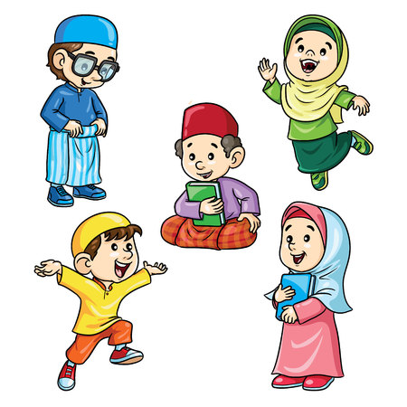 Illustration of cute cartoon happy moslem kids.