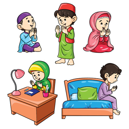 Illustration of cute cartoon moslem kids praying.