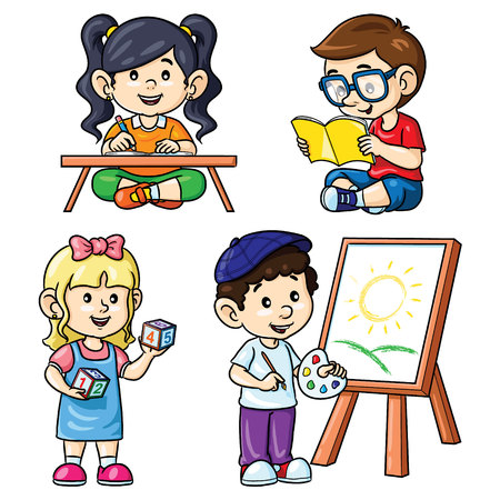 Illustration of cute cartoon activity kids reading, writing, counting and painting.