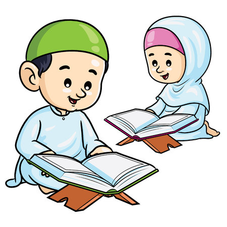 Moslem Kids Reading Quran