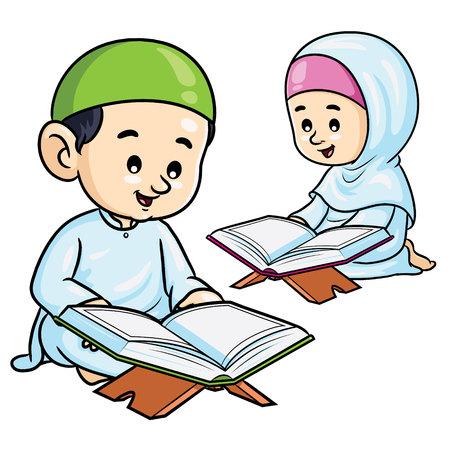 Moslemische Kinder, die Koran lesen