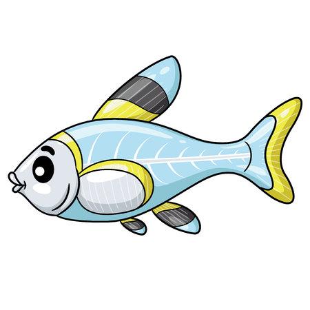 Illustration of cute cartoon x-ray fish.