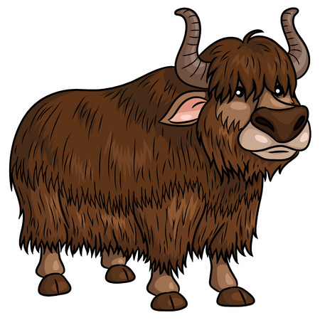 Illustration of cute cartoon yak. Banque d'images - 111756539