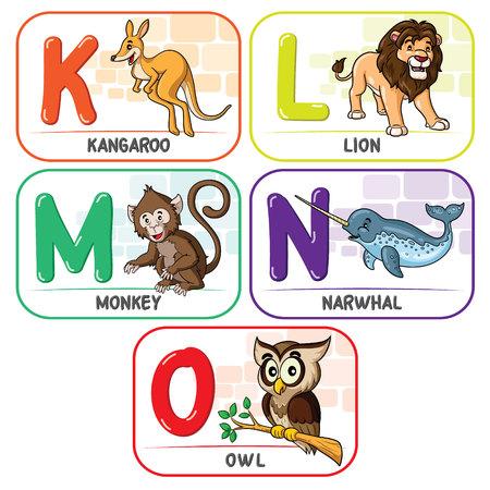 Animal Alphabet K L M N O Ilustrace