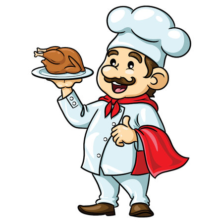 Chef Cartoon with Roasted Chicken  イラスト・ベクター素材
