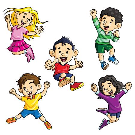 Jumping Kids Cartoon Ilustração