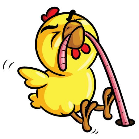 Illustration of cute cartoon chick eat worm.