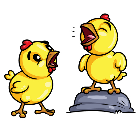 Illustration of cute cartoon chicks crow. Banque d'images - 121181697