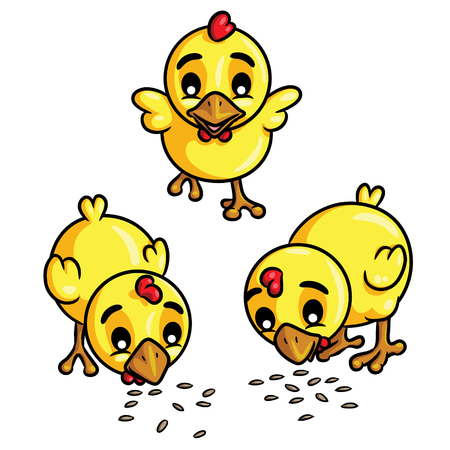 Illustration of cute cartoon chicks eat seeds.