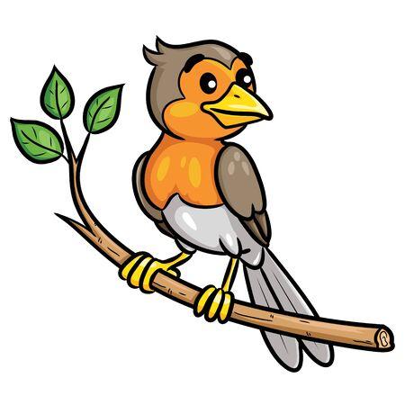 Bird Cartoon on the Branch Ilustrace