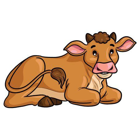 Cow Sit Cartoon