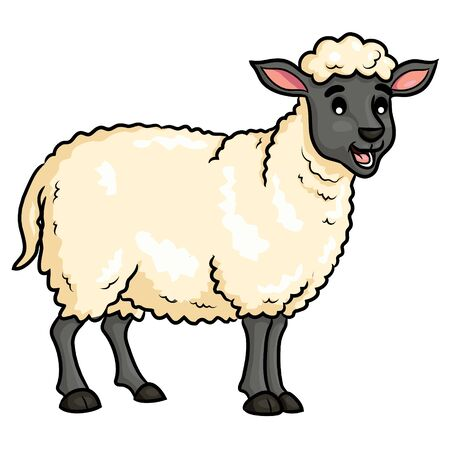Sheep Cute Cartoon Banque d'images - 125671626