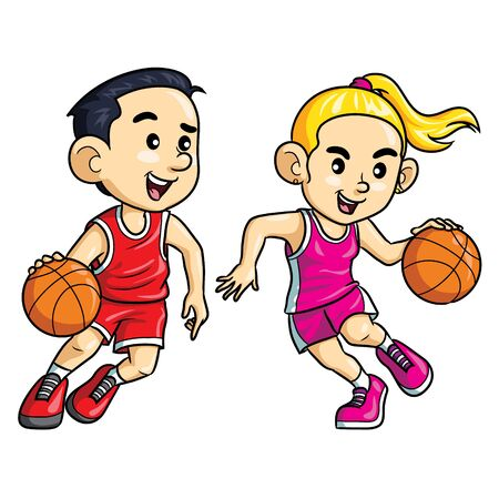 Basketball Player Kids Cartoon Zdjęcie Seryjne - 127410161