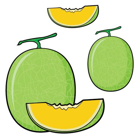 Illustration of cute cartoon melon Zdjęcie Seryjne - 128050092