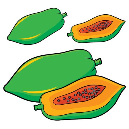 Illustration of cute cartoon papaya Zdjęcie Seryjne - 128050094