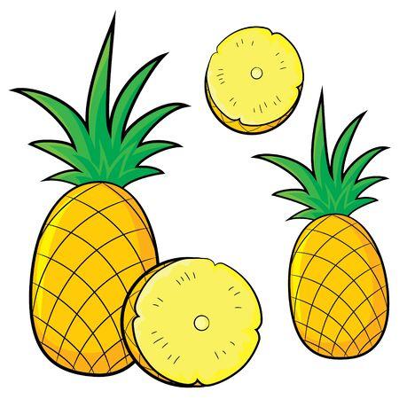 Illustration of cute cartoon pineapple