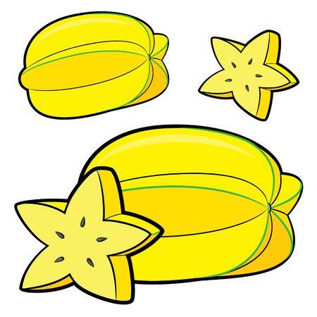 Illustration of cute cartoon starfruit