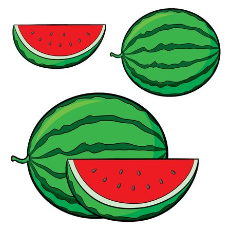 Illustration of cute cartoon watermelon Zdjęcie Seryjne - 128050100