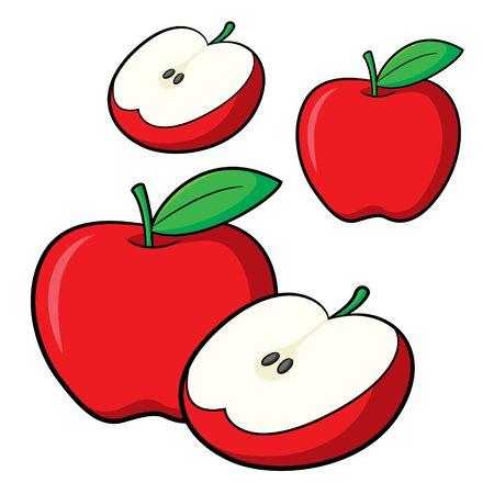 Illustration of cute cartoon apple Ilustracja
