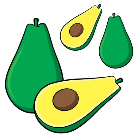 Illustration of cute cartoon avocado