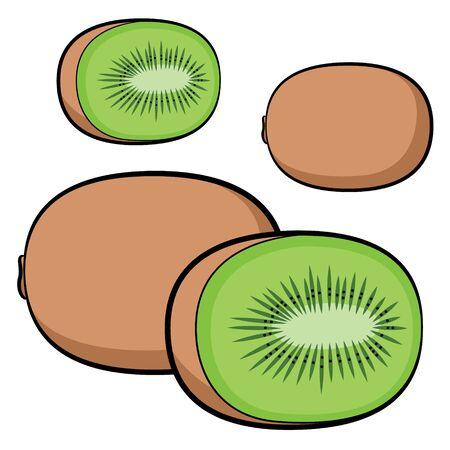Illustration of cute cartoon kiwi fruit