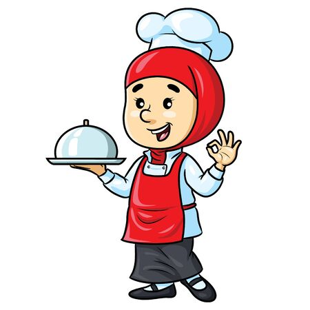 Female Chef Cartoon with Hijab Banque d'images - 127913962