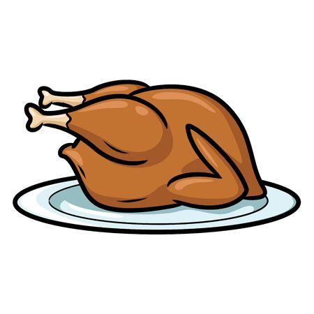 Roast Chicken Cartoon Ilustrace