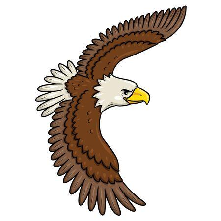 Illustration of cute cartoon flying eagle.