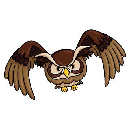 Illustration of cute cartoon owl. Ilustracja