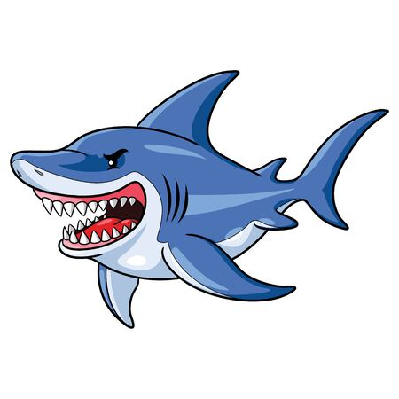 illustration of an angry cartoon shark. Zdjęcie Seryjne - 128052490