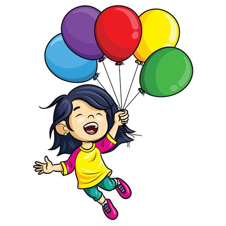 Illustration of cute cartoon girl holding balloons. Banque d'images - 128375856
