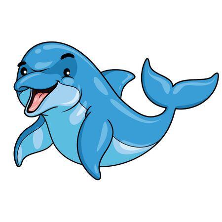 Illustration of cute cartoon dolphin.