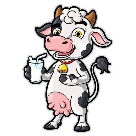 Cow Cartoon Character Holding a Glass of Milk