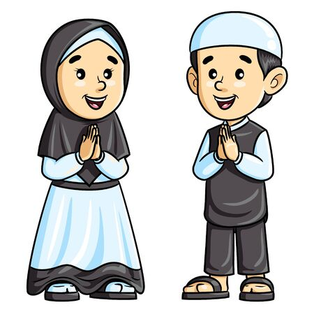 Illustration of cute cartoon kids greeting salaam. Banque d'images - 129008881